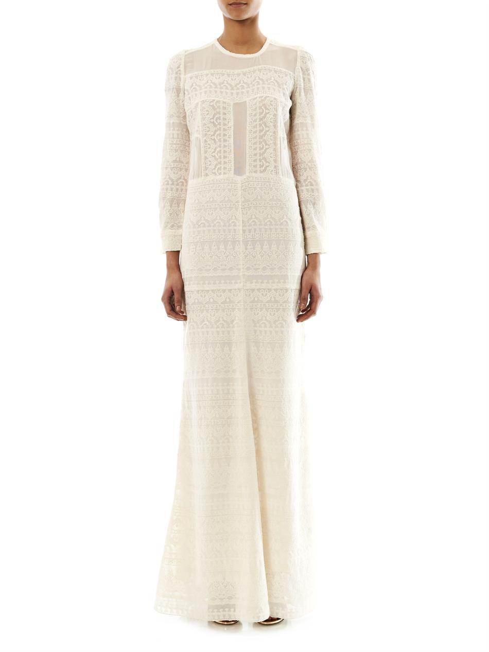 Lyst Isabel Marant Talma Embroidered Maxi Dress In White