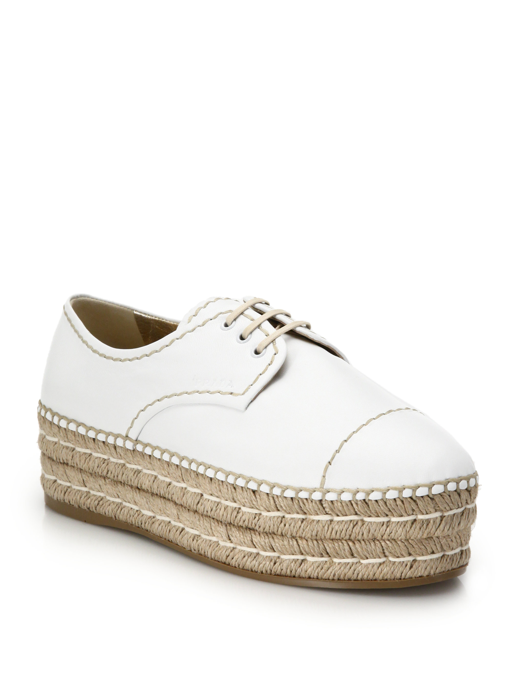 9522c2035eb5 Lyst - Prada Espadrille Platform Leather Lace-up Shoes in White