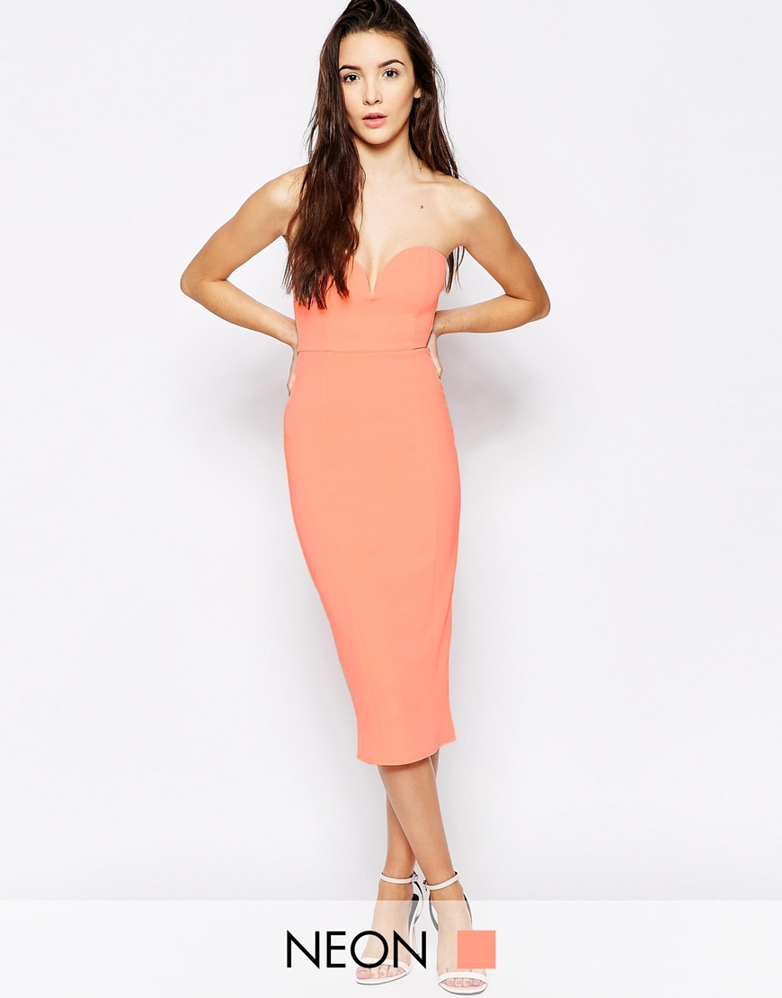13a1a405435b Oh My Love Body-conscious Midi Dress With Sweetheart Neckline in Pink - Lyst