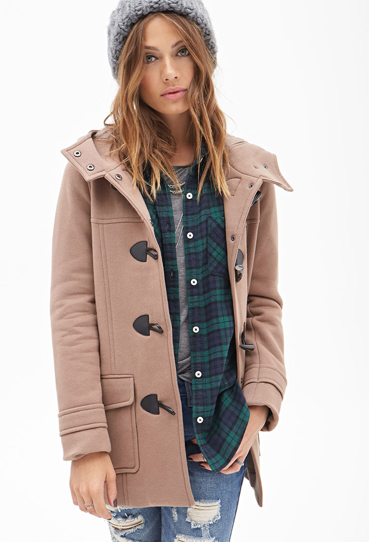 Forever 21 Hooded Toggle Coat in Brown | Lyst