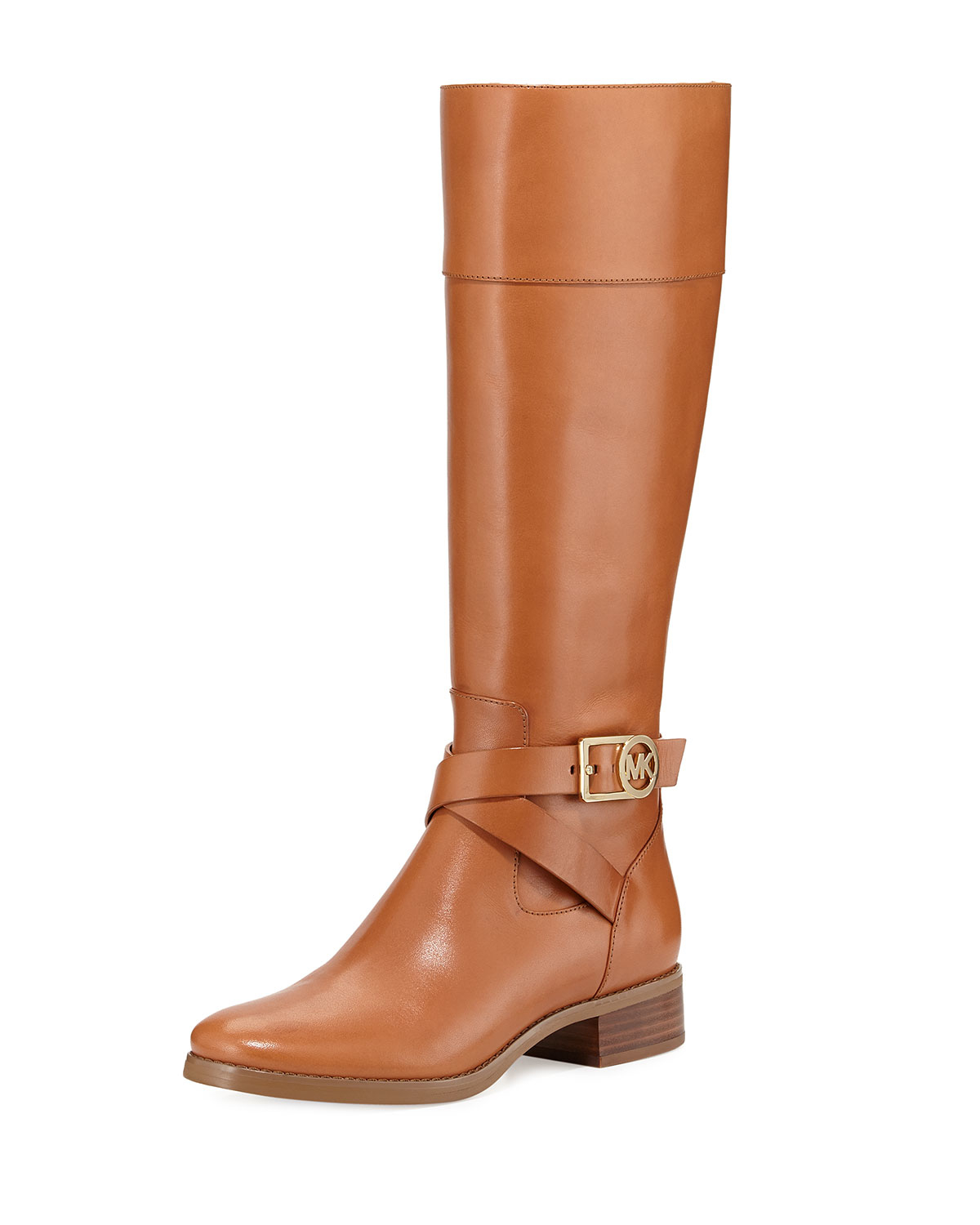 Michael michael kors Bryce Leather Riding Boots in Brown | Lyst