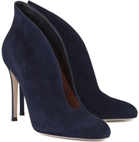 gianvito navy open suede ankle boots in blue navy