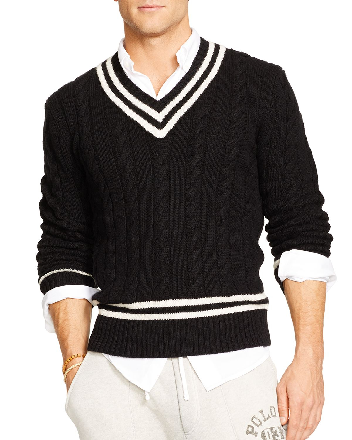 6b8bd1f5542 Ralph Lauren Polo Cable-Knit Cricket Sweater in Black for Men - Lyst