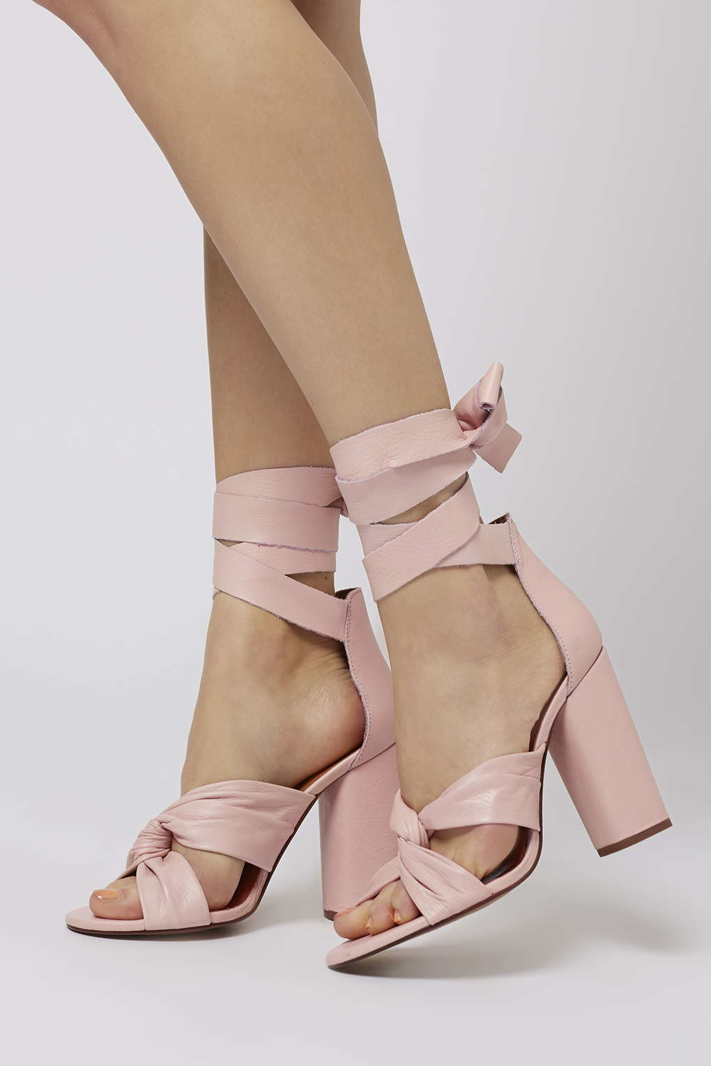 Topshop Rosa Knotted High Sandals in Pink | Lyst