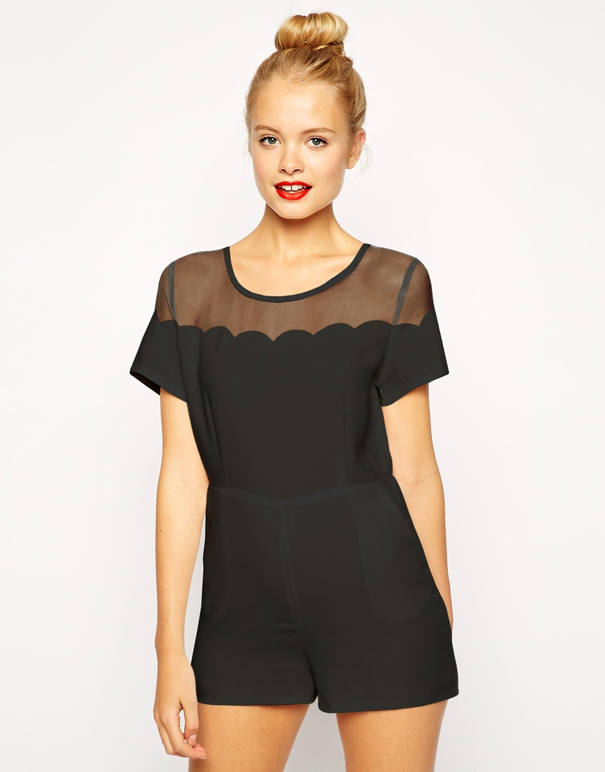 18b3d99168 Lyst - Fashion Union Playsuit With Scallop Mesh Detail in Black