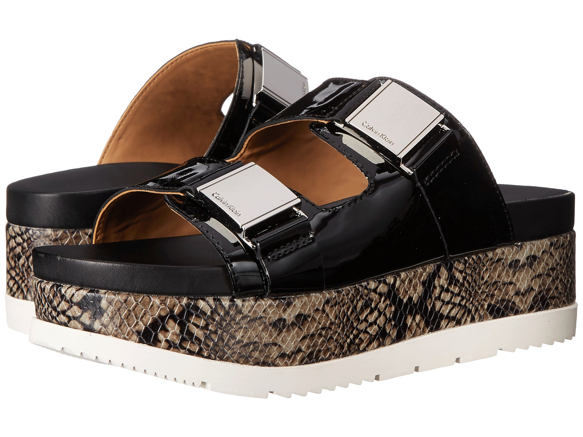 Womens Sandals Calvin Klein Casely Black Patent/Leather