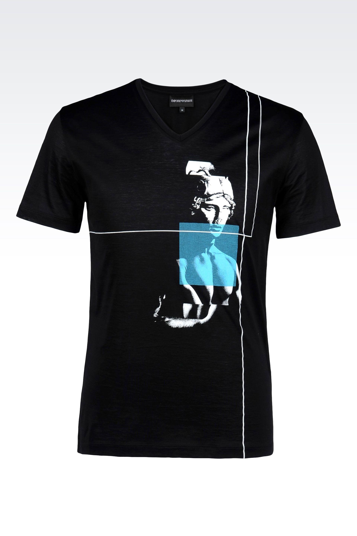 emporio armani v neck t shirt in printed jersey in black for men lyst. Black Bedroom Furniture Sets. Home Design Ideas
