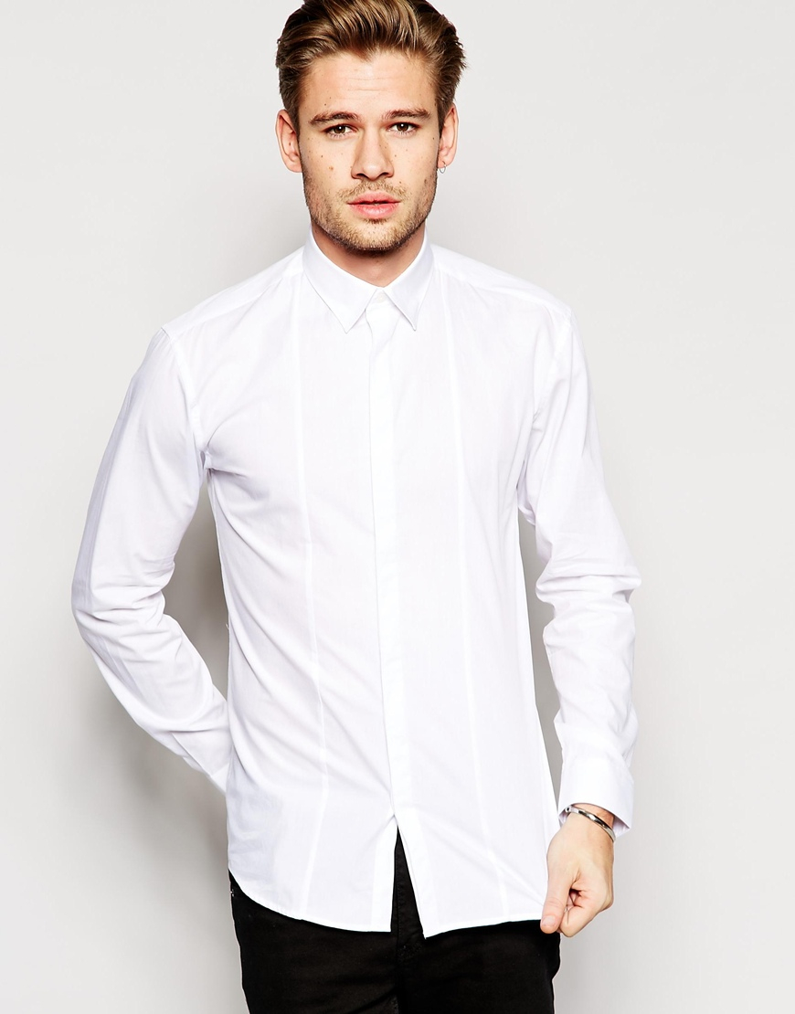 Lyst selected selected formal shirt with concealed for Mens formal white shirts