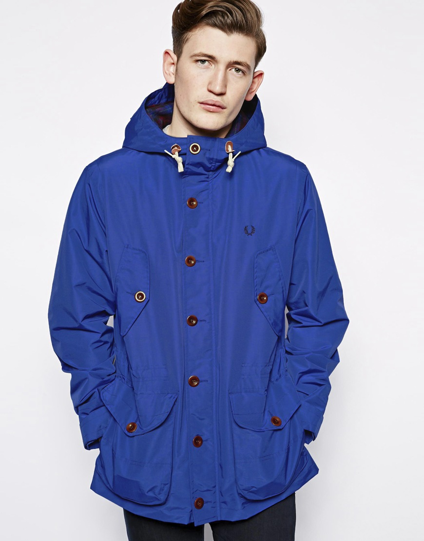 Fred perry Parka Jacket in Blue for Men | Lyst