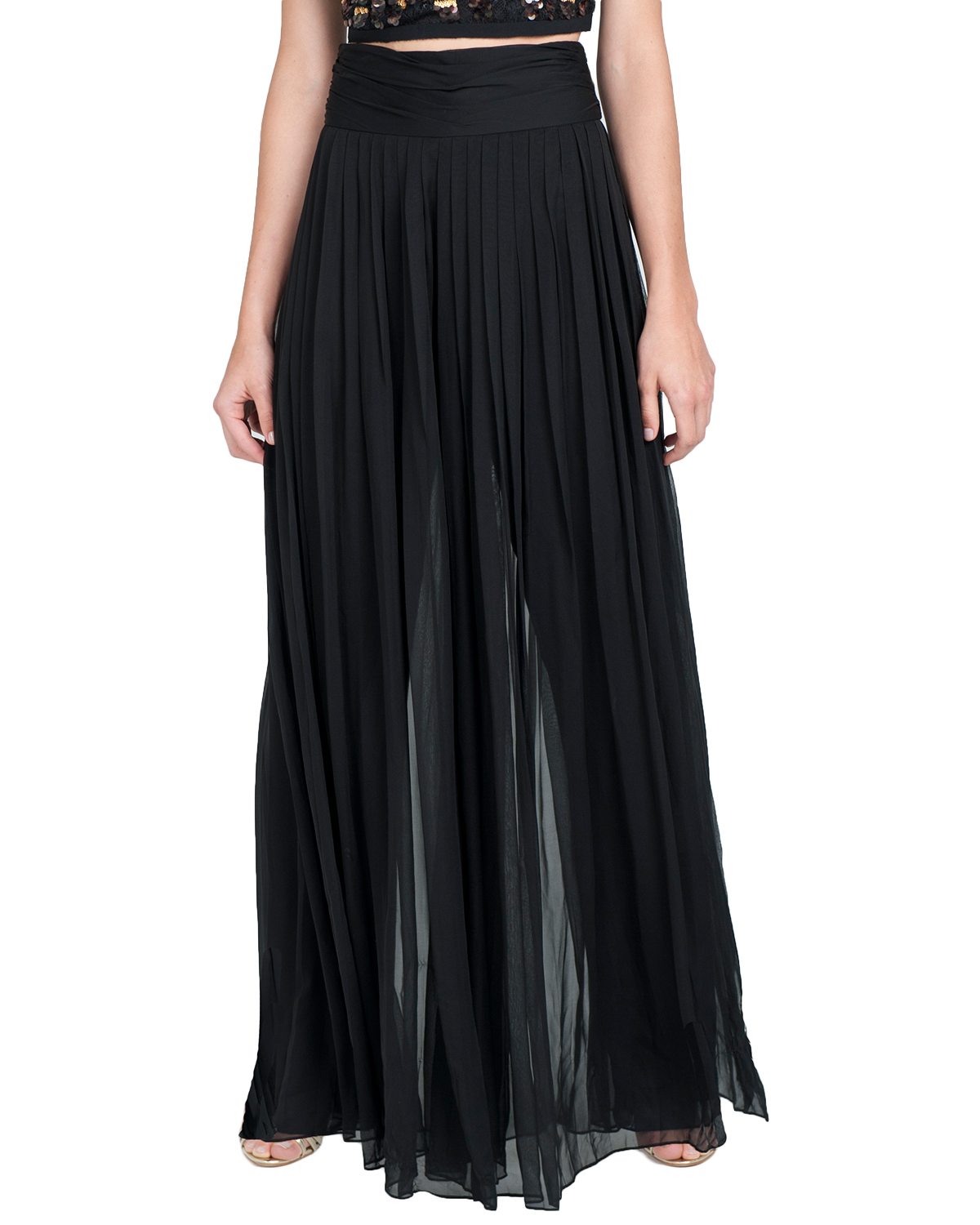 Badgley mischka Sheer Pleated Wide Leg Pants in Black | Lyst