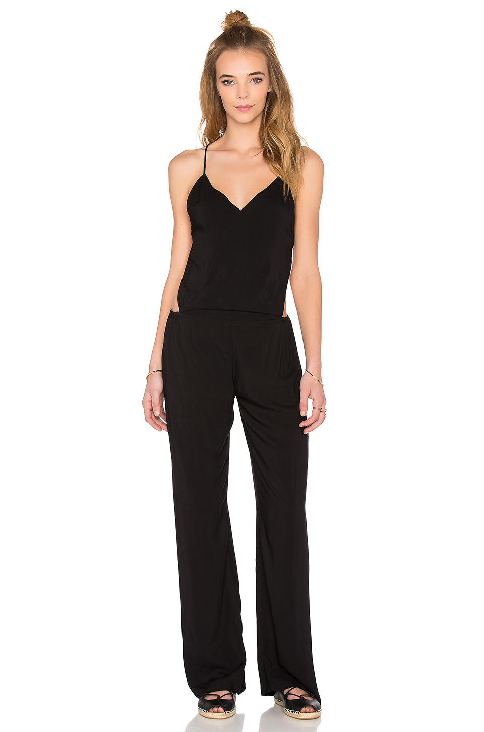 b89d8497d5ae Lyst - Indah Giza Triangle Patchwork Jumpsuit in Black