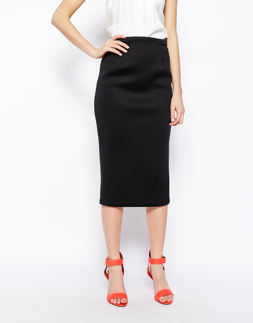 Asos Premium Longline Pencil Skirt In Bonded Scuba in Black | Lyst