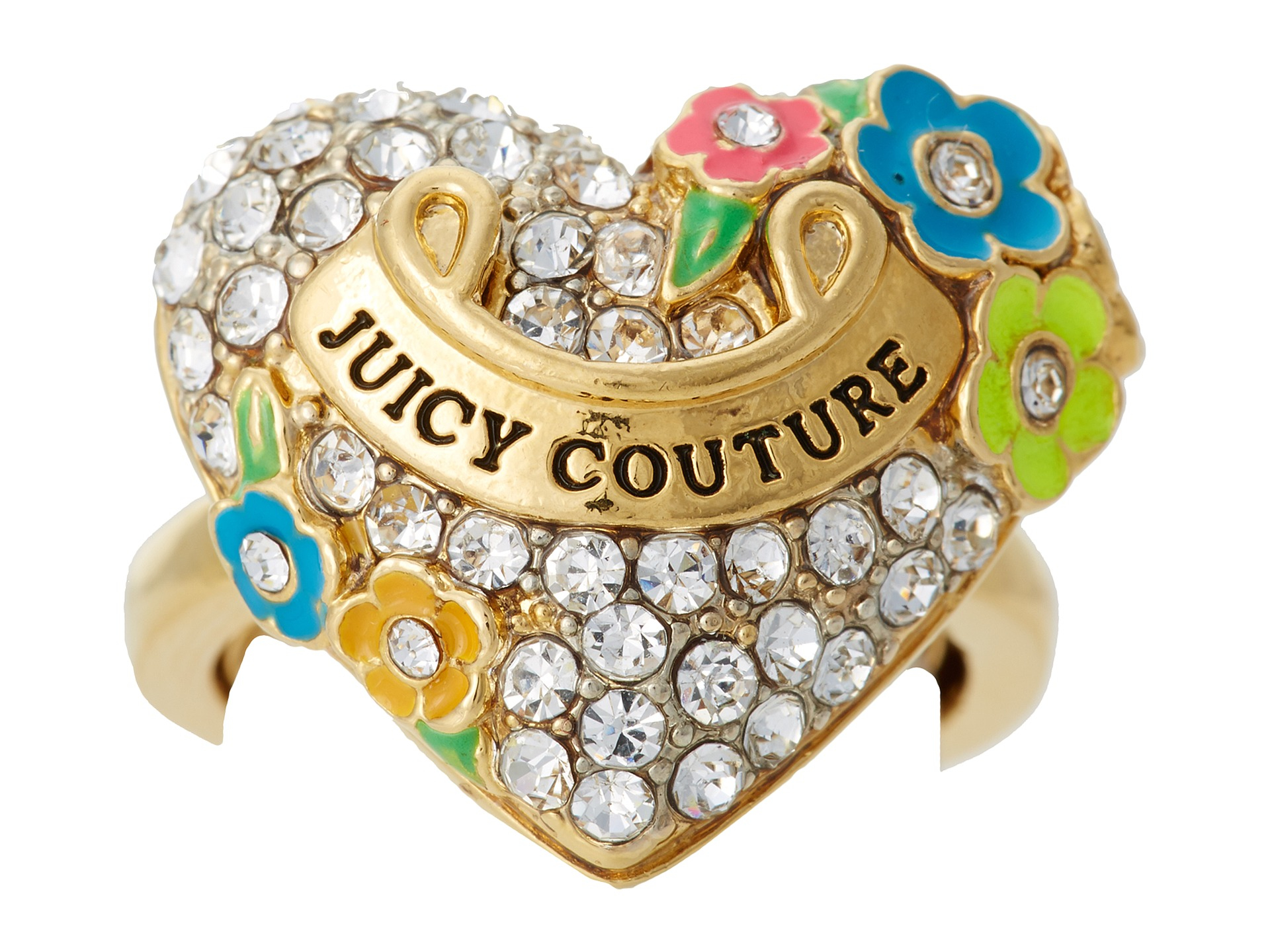 Lyst - Juicy Couture Pave Heart and Flower Ring in Metallic