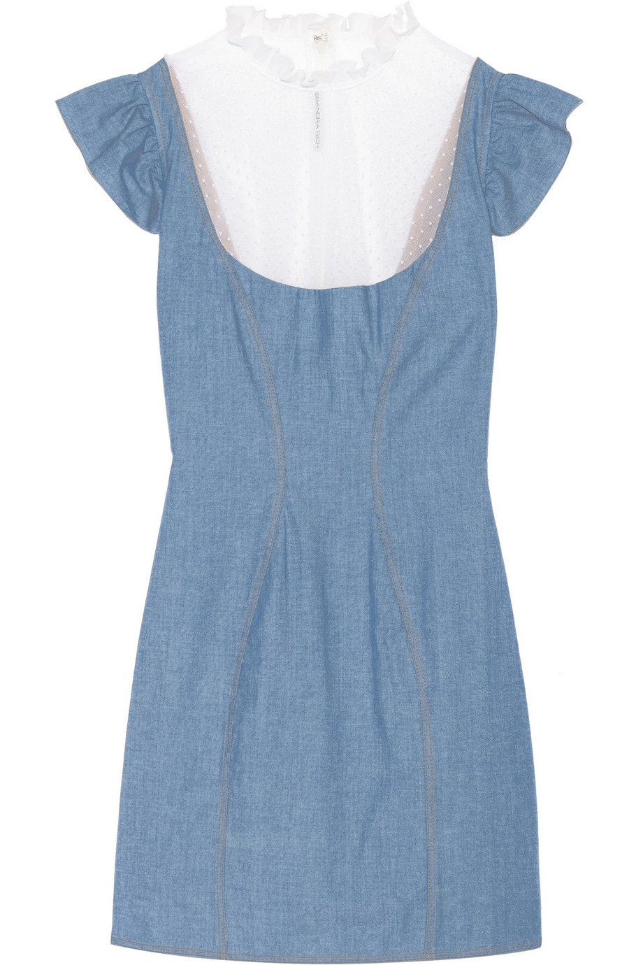 Alessandra rich Chambray Mini Dress And Lace Maxi Skirt Set in ...