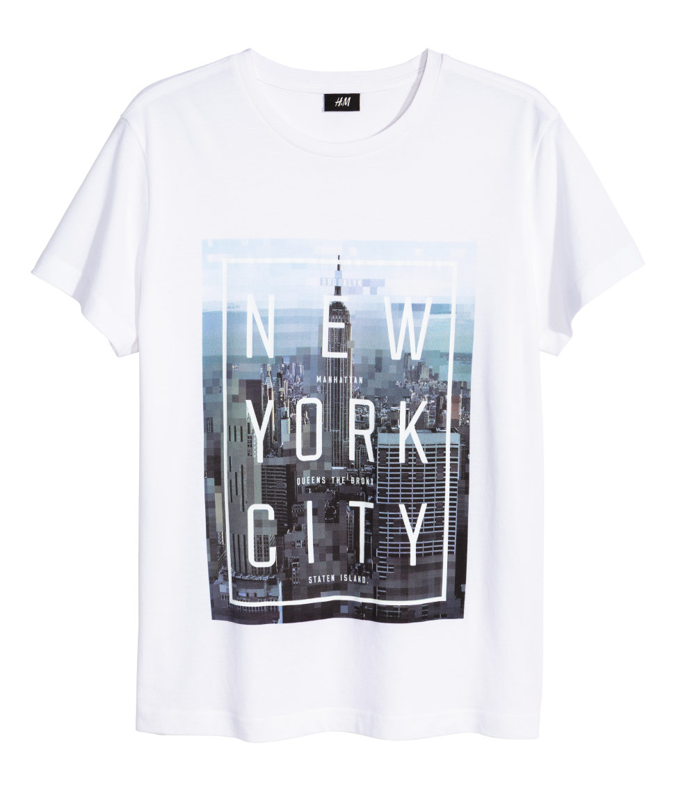 Hm T Shirt With A Print In White For Men Lyst