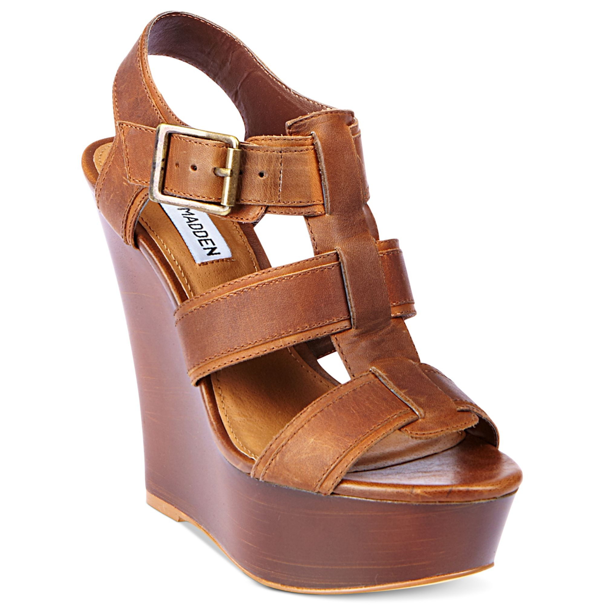 a5510db9787 Lyst - Steve Madden Wanting Platform Wedge Sandals in Brown