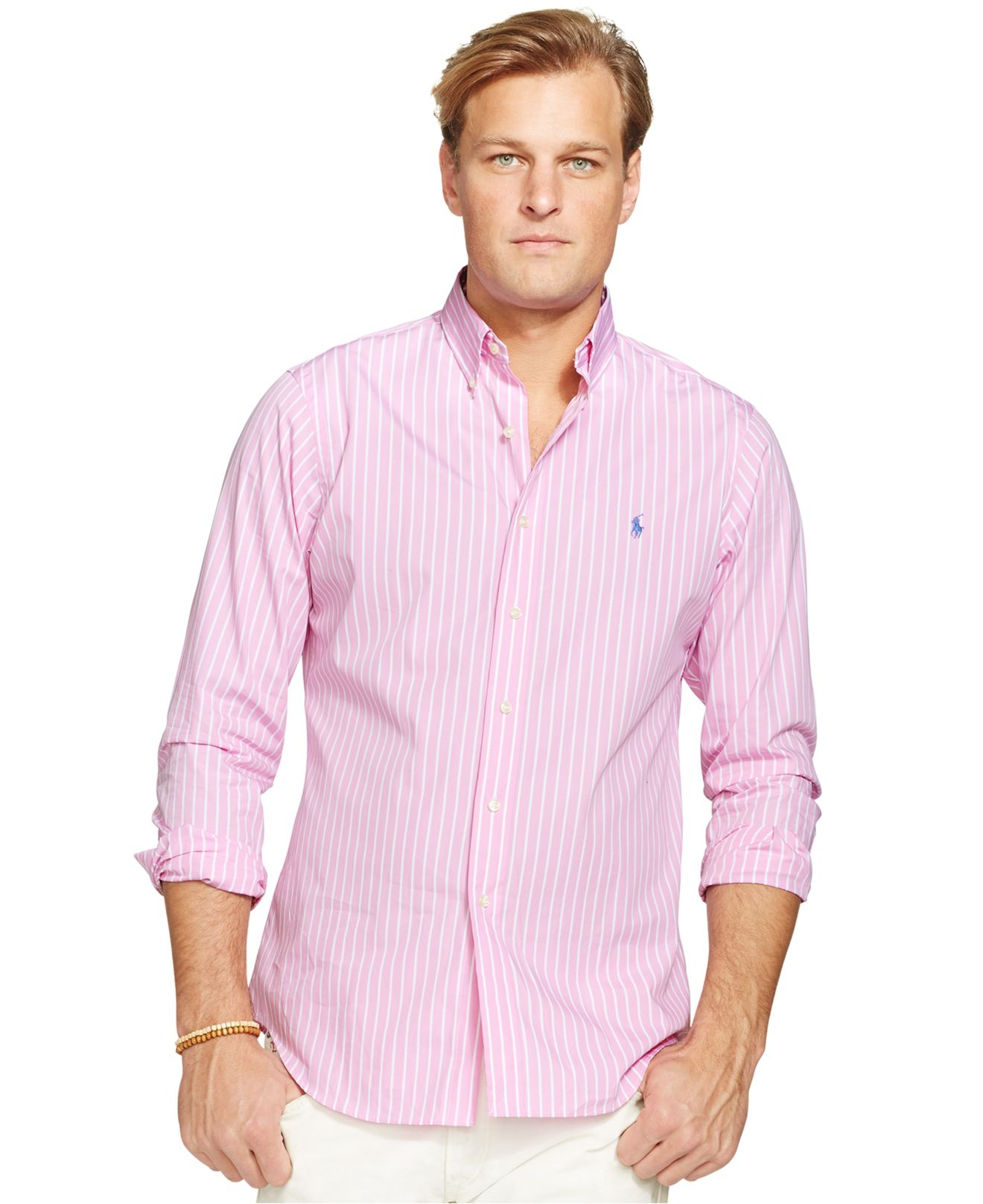 51b4279abc2f8 Lyst - Polo Ralph Lauren Big And Tall Poplin Striped Long Sleeve ...