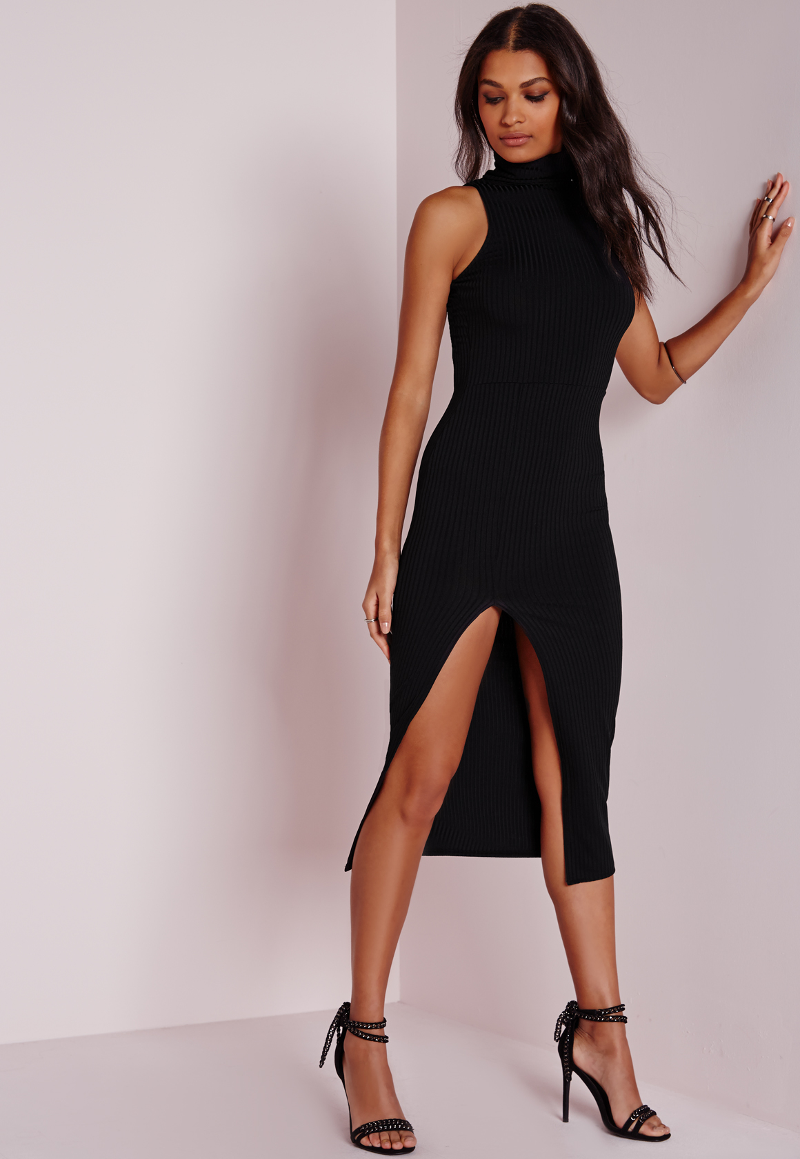 Missguided Ribbed Turtle Neck Midi Dress Black In Black Lyst