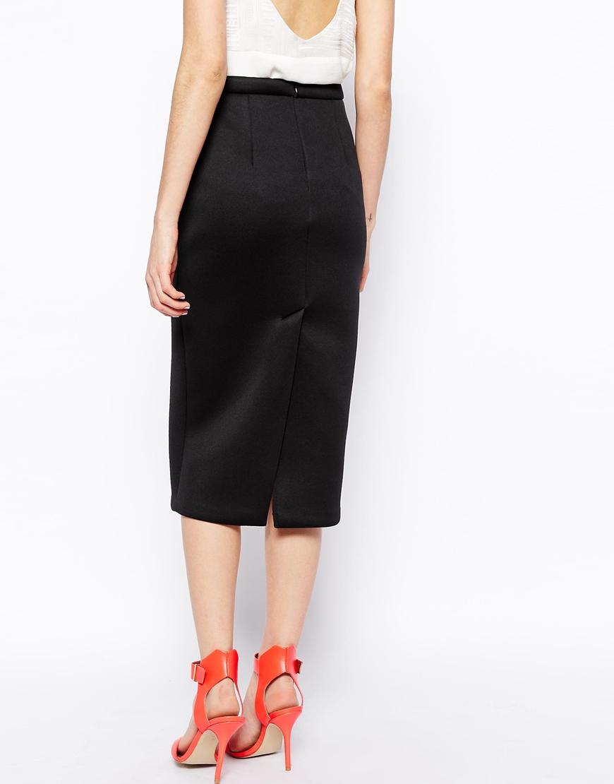 asos premium longline pencil skirt in bonded scuba in