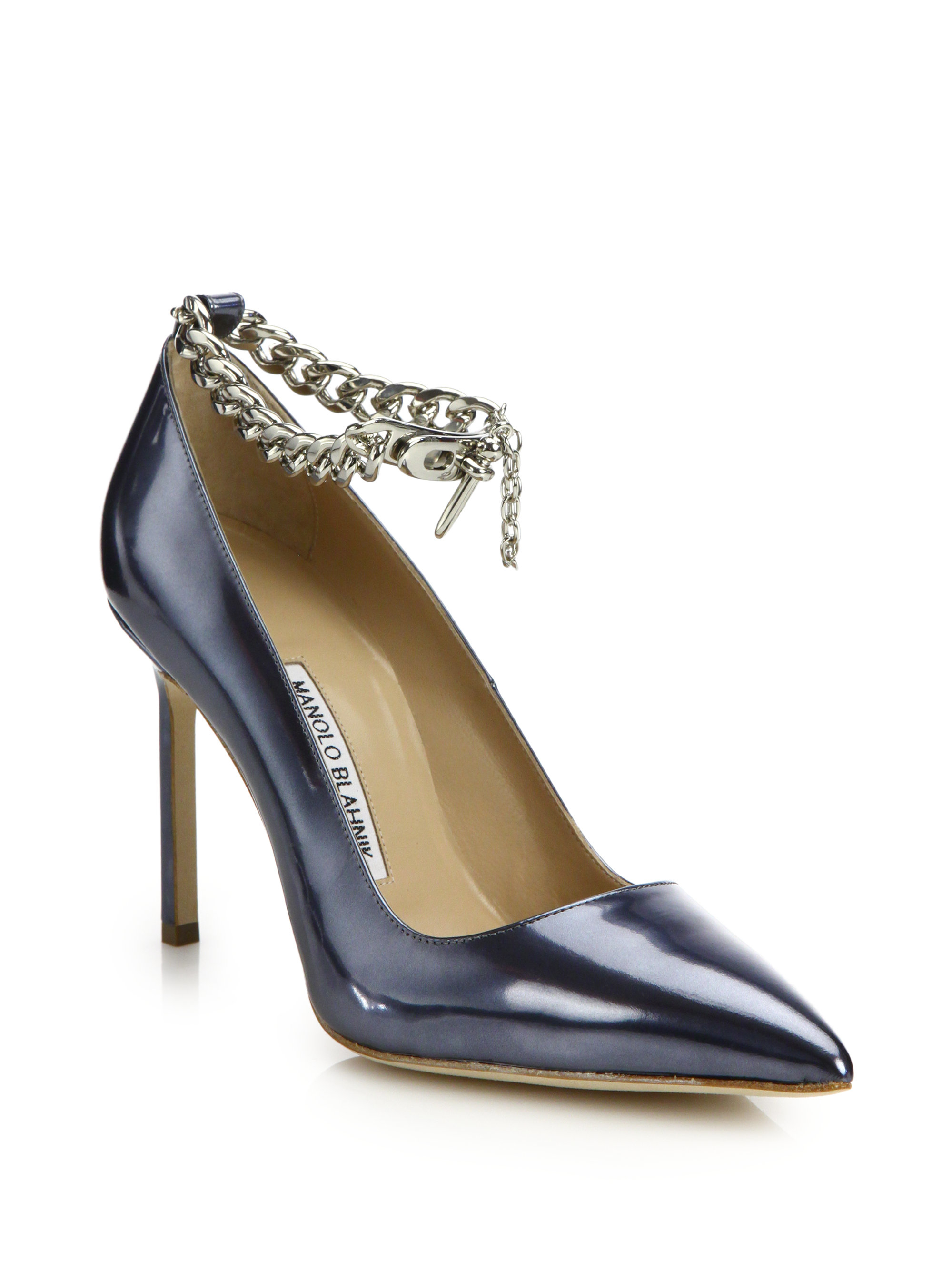 02d0207622de ... where to buy lyst manolo blahnik bb metallic patent leather chain ankle  strap 98206 c8d25