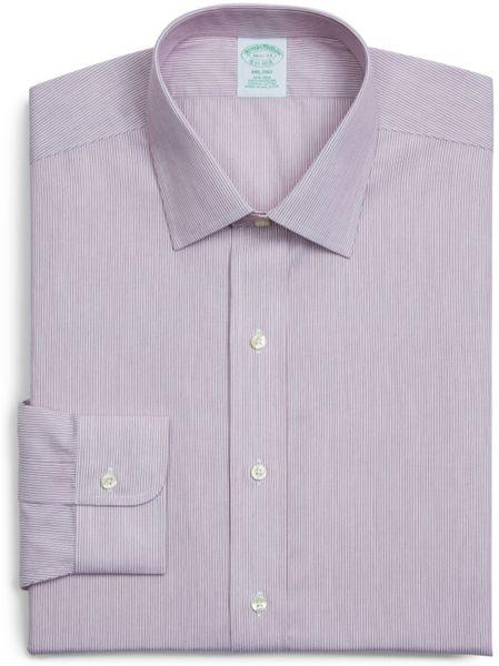 Brooks Brothers Purple Fine Twin Stripe Milano Regular