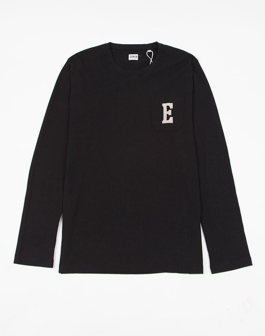 Lyst Edwin Pocket Long Sleeved Logo T Shirt Type 1 Black