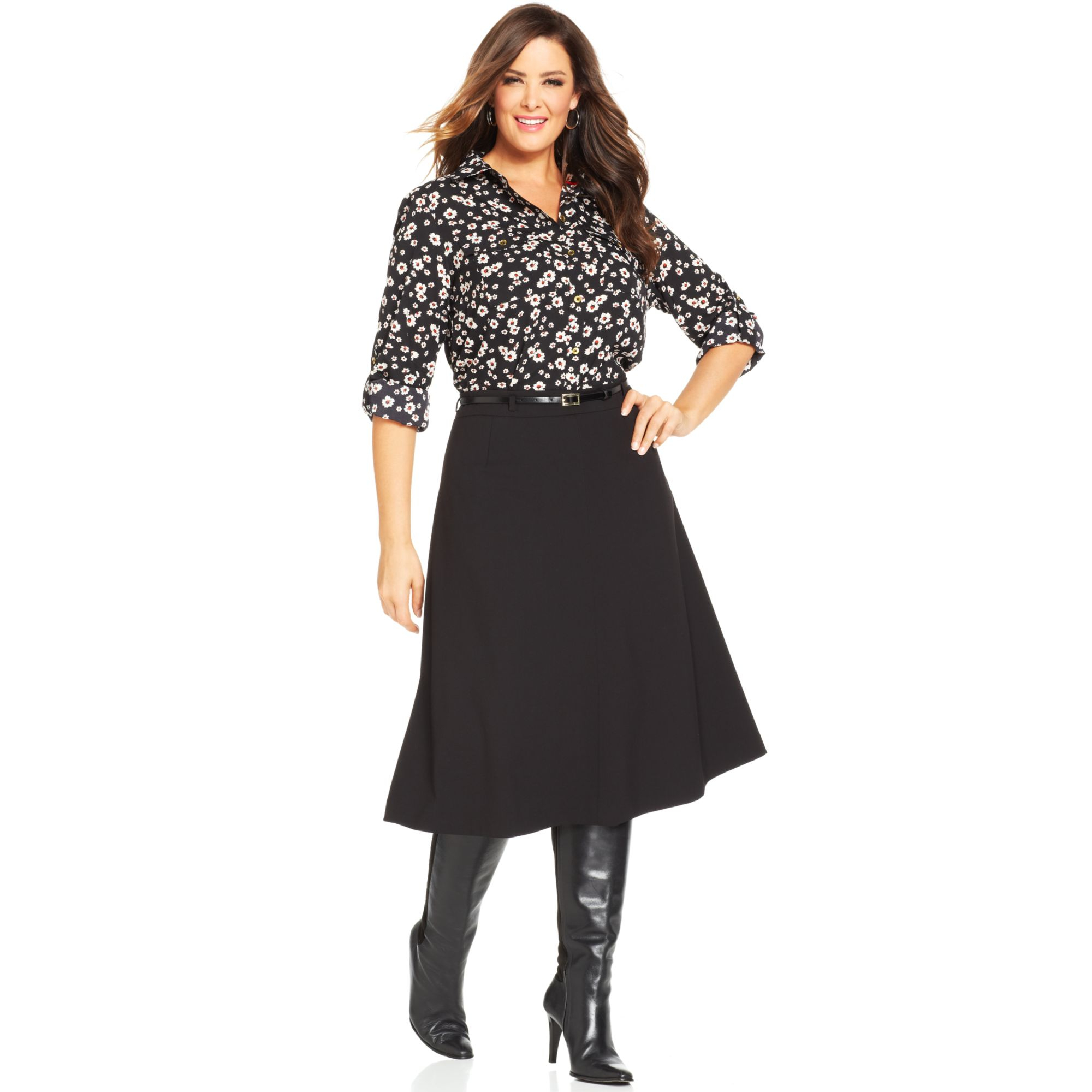 Jones new york Collection Plus Size Belted A-Line Skirt in Black ...