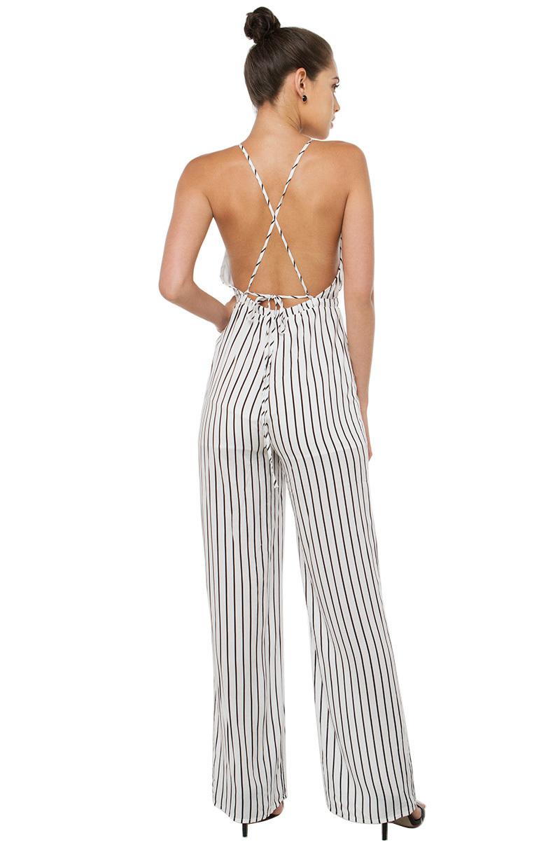Lyst Akira Black Label In Depth White Black Striped Jumpsuit In Black