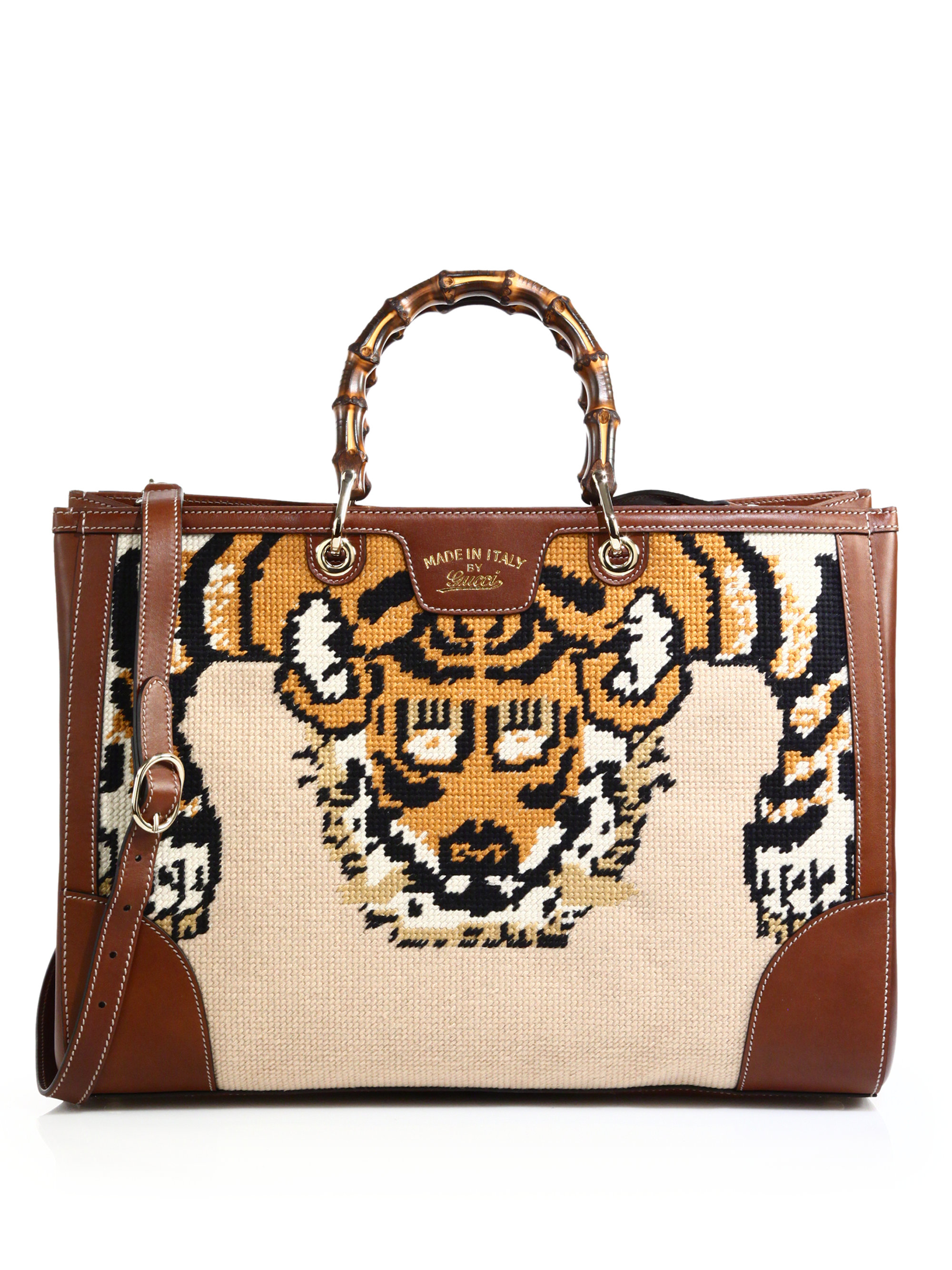 Gucci Bamboo Embroidered Tote With Tiger Amp Bee  Lyst