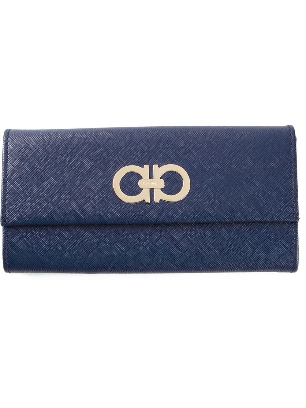 Ferragamo Gancini Flap Wallet in Blue - Lyst