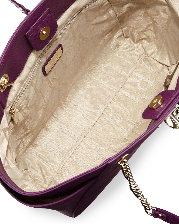 Lyst - Furla Julia Medium Leather Tote Bag in Purple 5060dfa3db0b1
