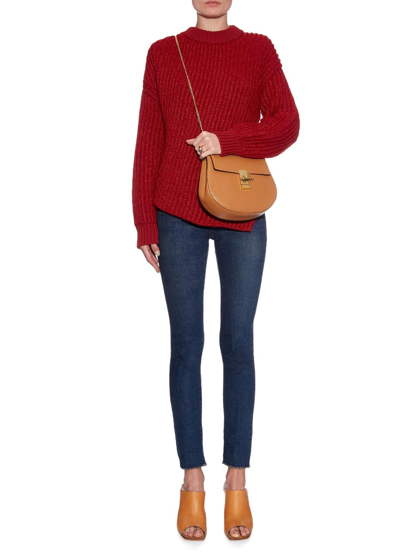 fake chloe bags - Chlo�� Drew Small Leather Shoulder Bag in Brown (TAN) | Lyst