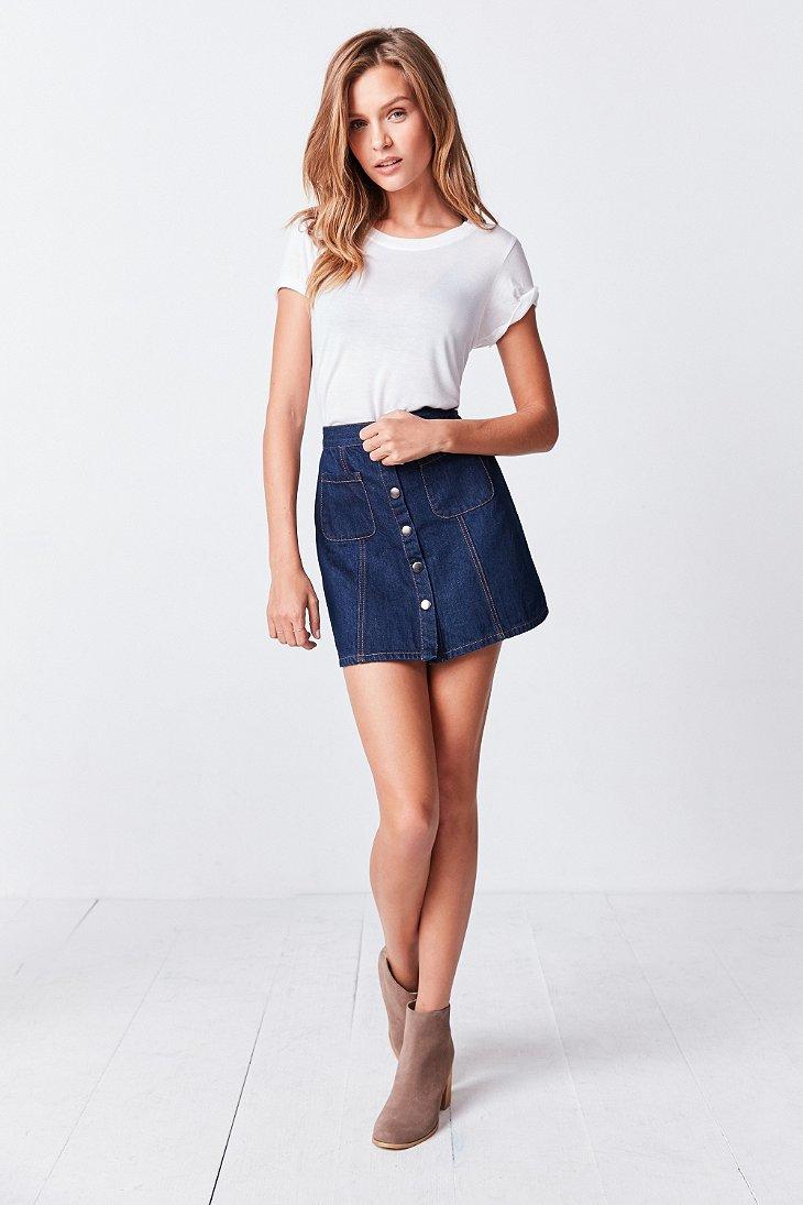 Bdg Denim Button-front Skirt in Blue | Lyst