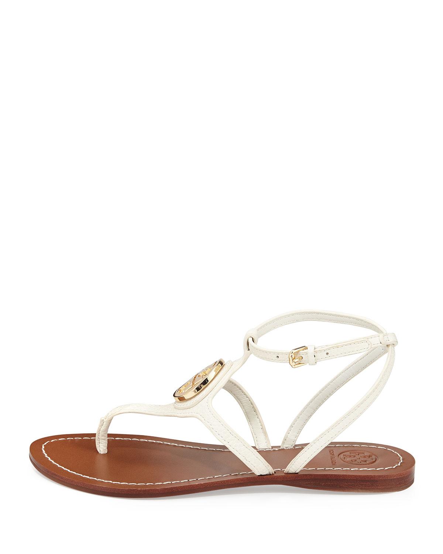 b9321e7d6102 ... get tory burch leticia logo thong sandal ivory in white lyst b4434 d7d0f