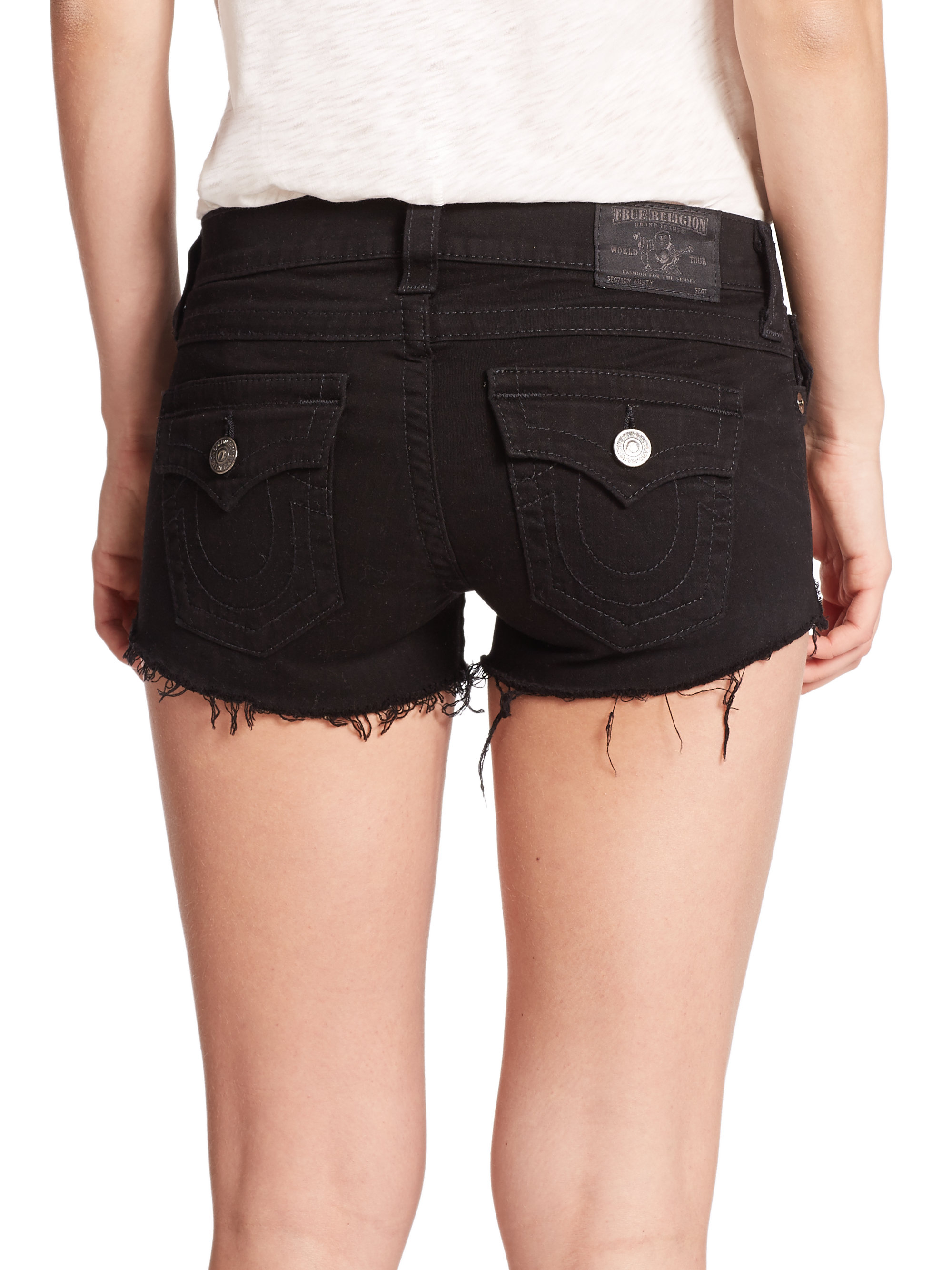 Lyst - True Religion Joey Cut-off Denim Shorts in Blue