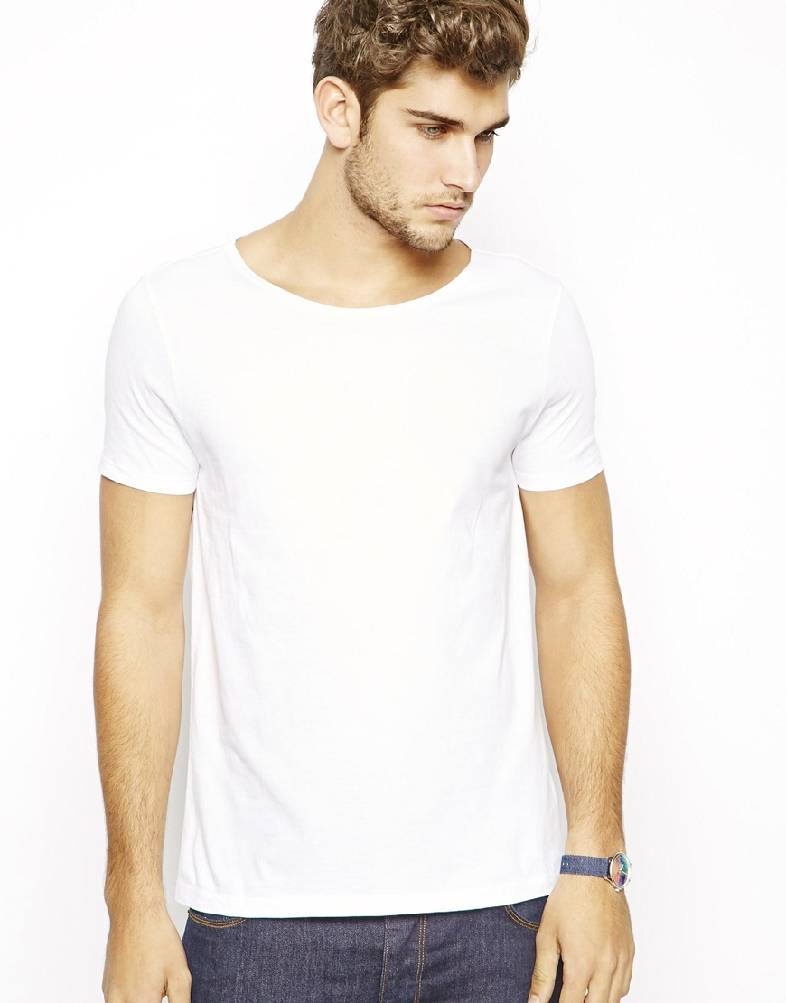 Lyst Asos T Shirt With Wide Boat Neck In White For Men