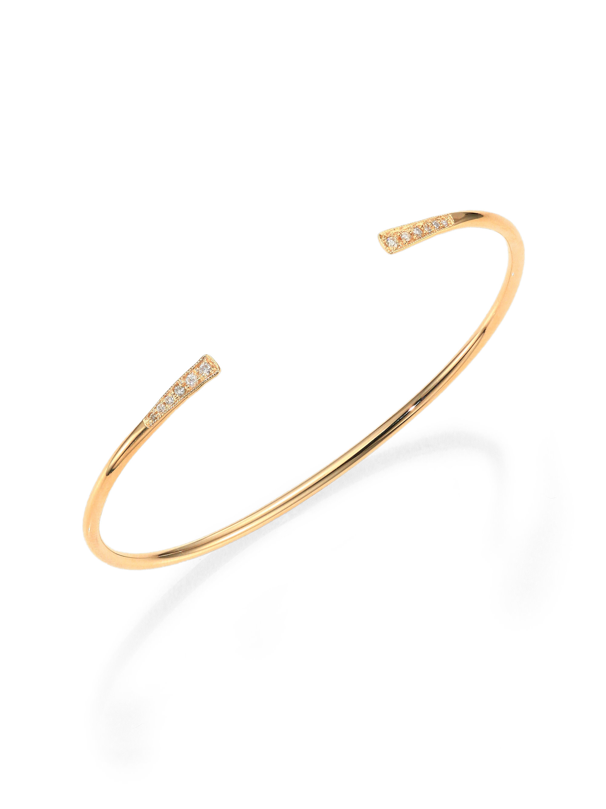lyst zoe chicco diamond amp 14k yellow gold open cuff