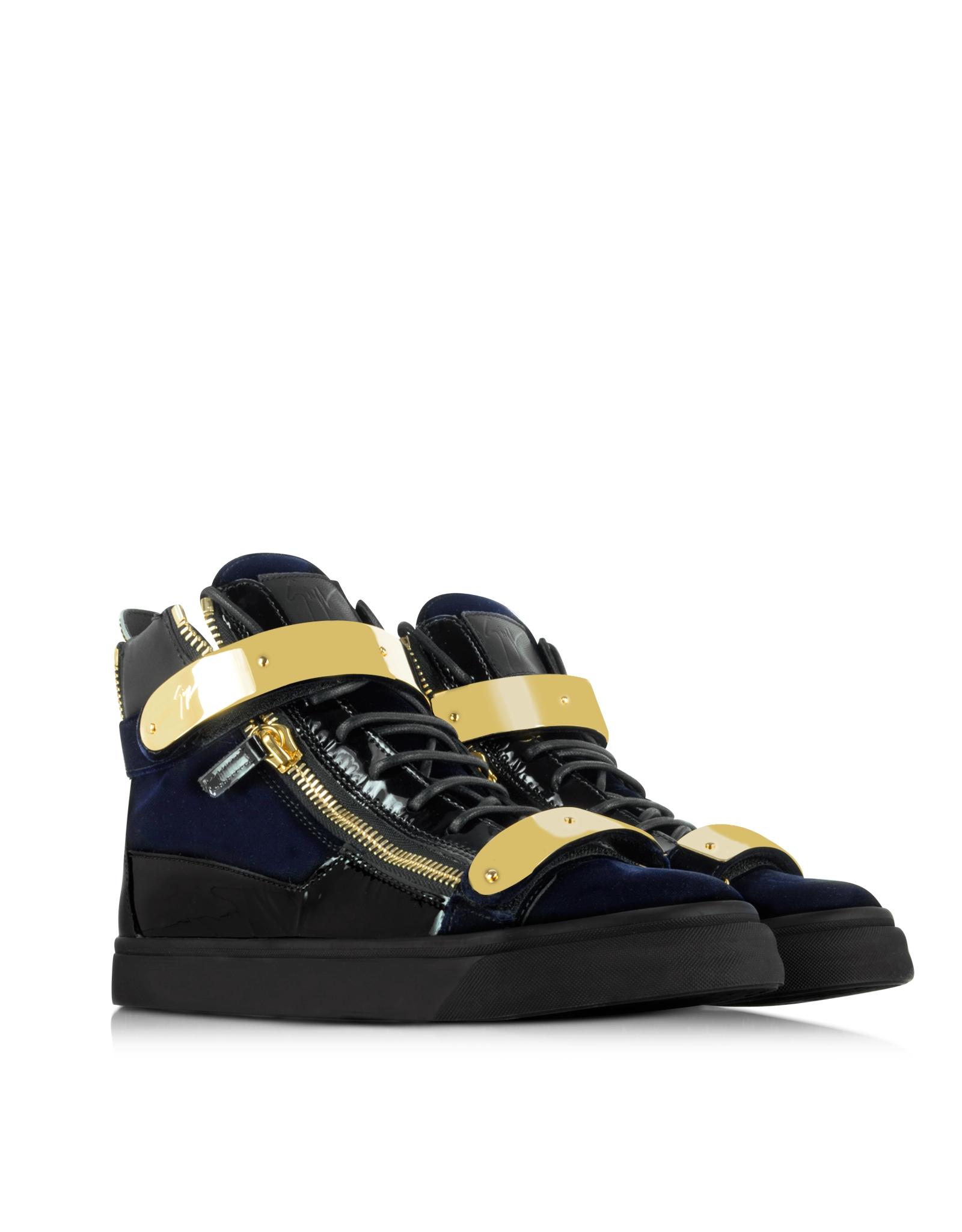 9c1d92f78dca Lyst - Giuseppe Zanotti Coby Navy Velvet Hight Top Sneaker in Blue ...
