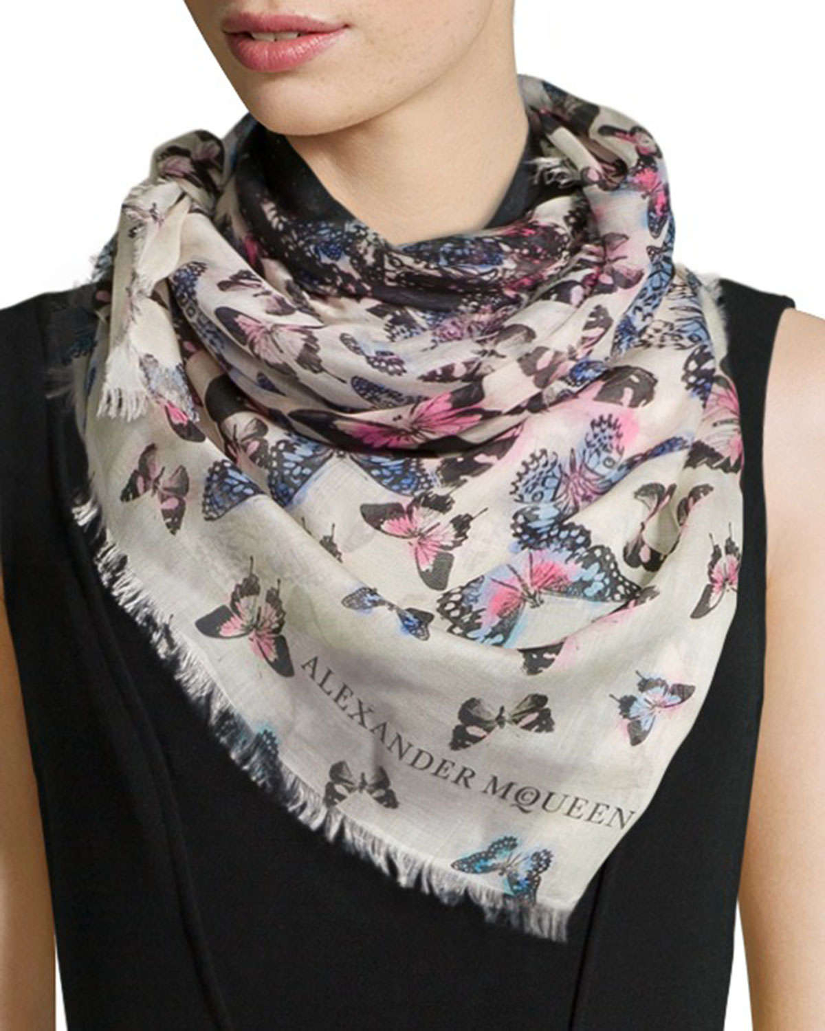 Alexander mcqueen Butterfly Flight Square Scarf in Natural ...