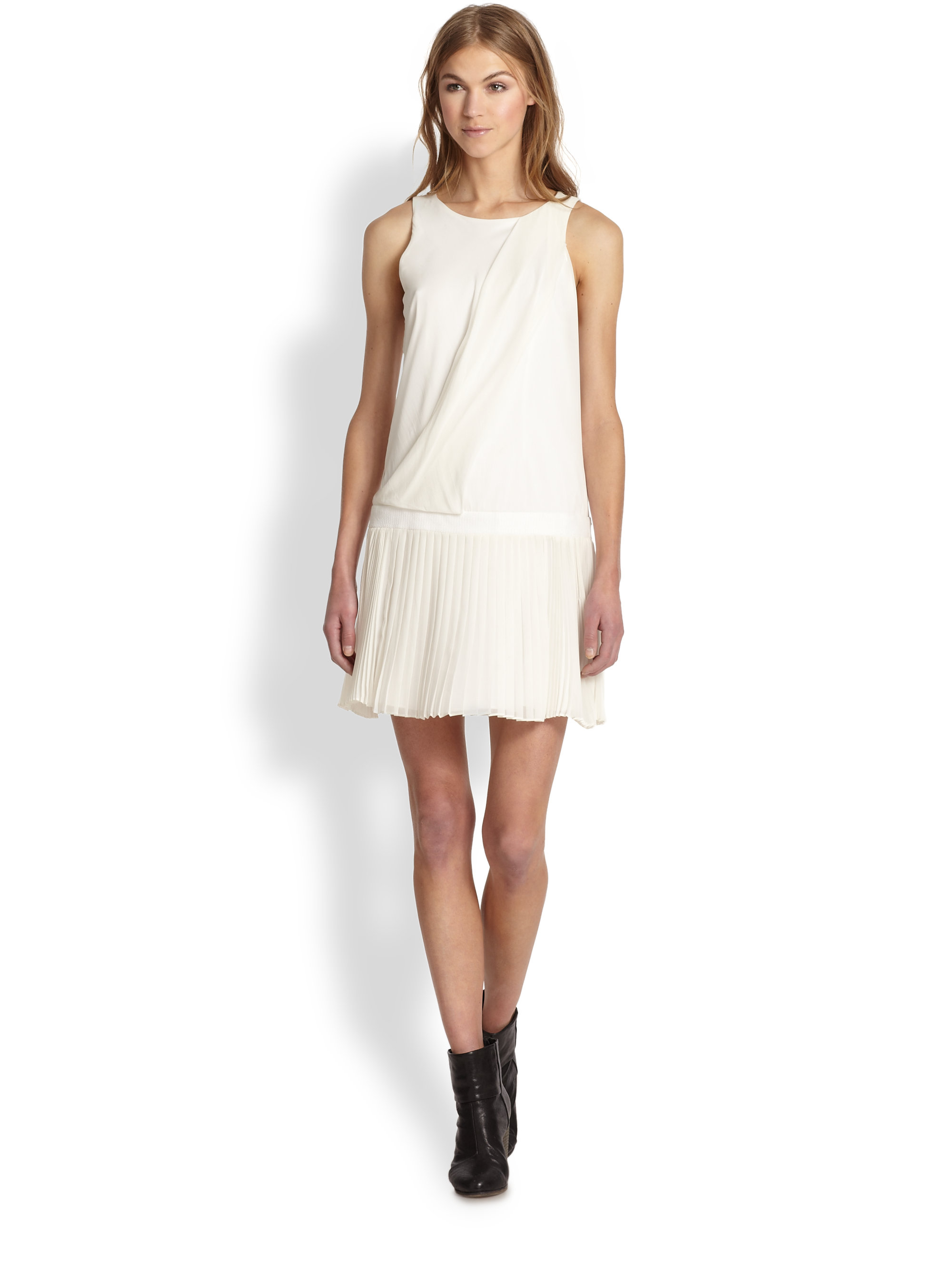 Lyst - Rag U0026 Bone Vanessa Stretch Silk Draped Pleatedskirt Dress In White