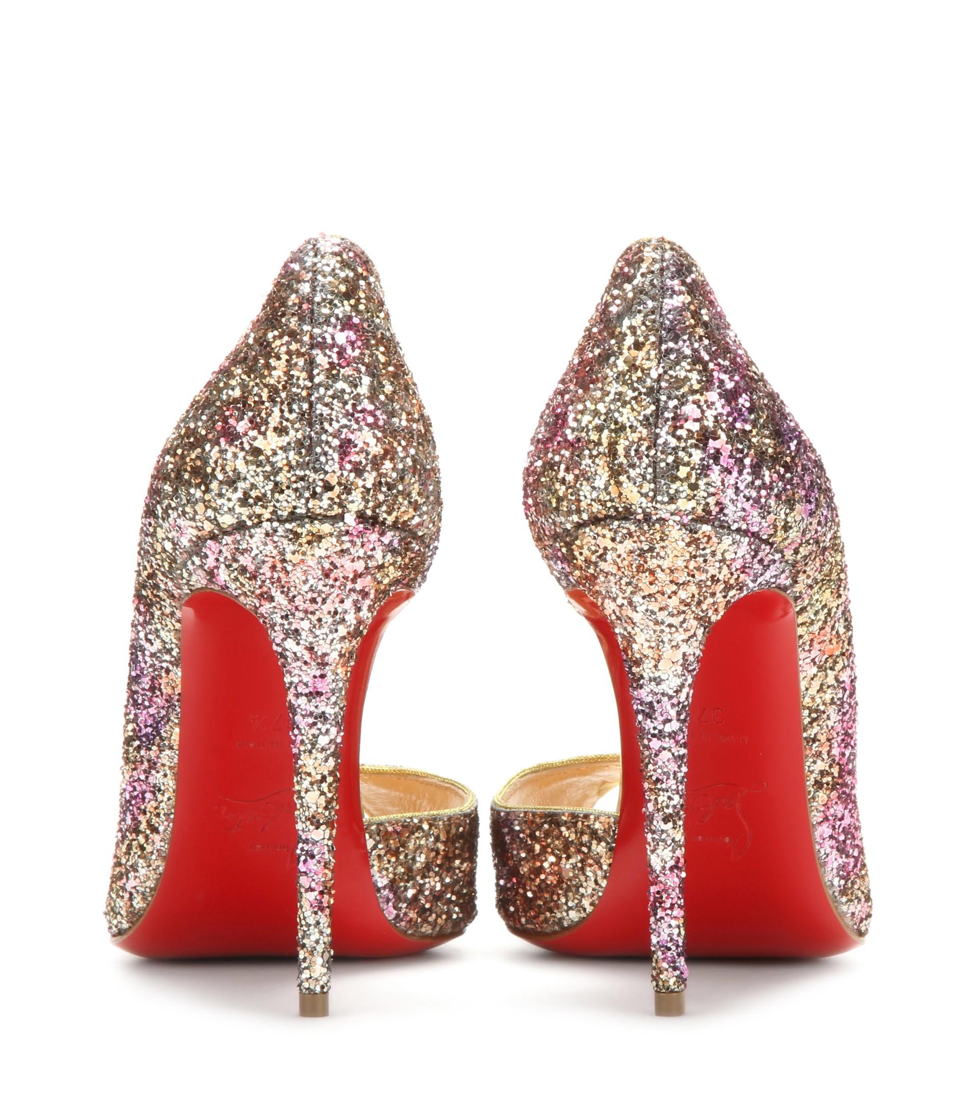 Christian louboutin Demi You 100 Glitter Peep-toe Pumps in Gold ...