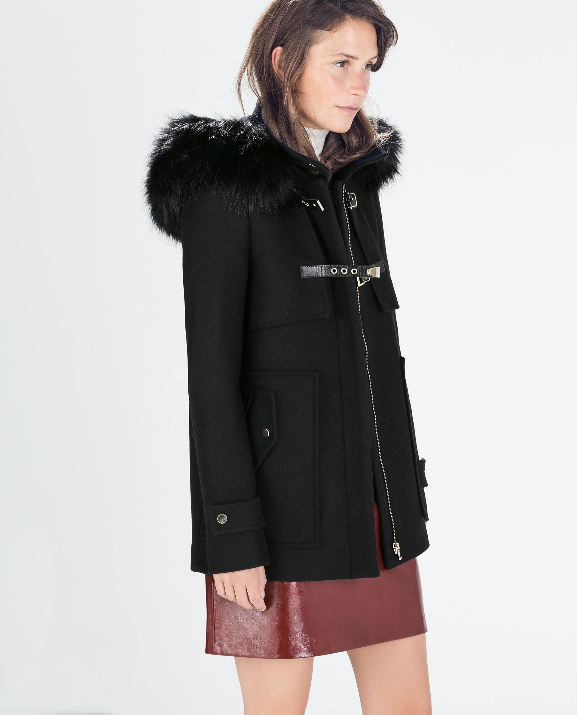 Black coat hood fur – Modern fashion jacket photo blog