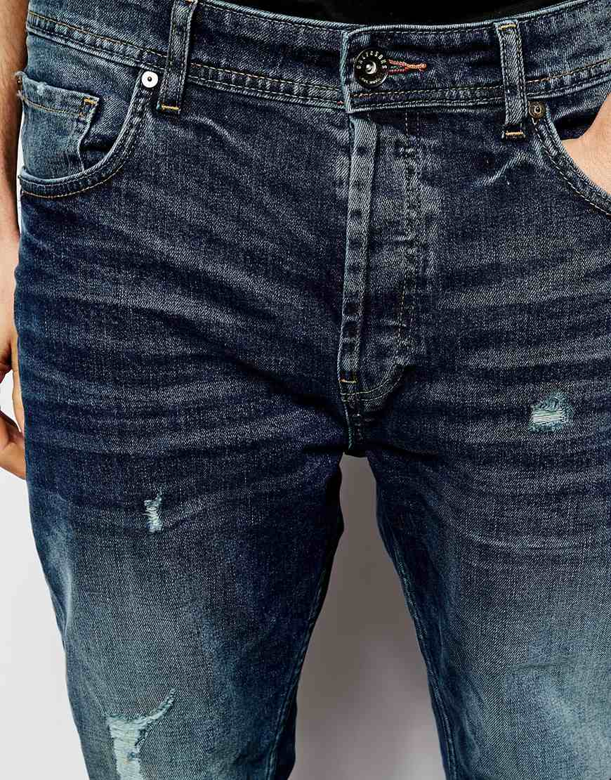Only amp; sons Ripped Jeans In Carrot Fit in Blue for Men Darkblue