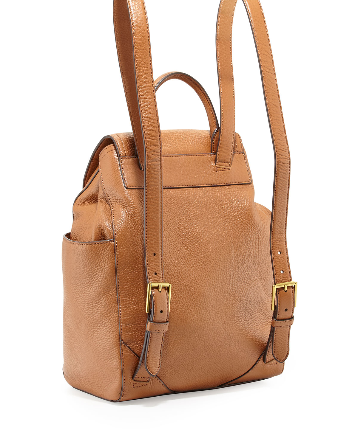 Tory burch Frances Leather Flap Backpack in Natural | Lyst