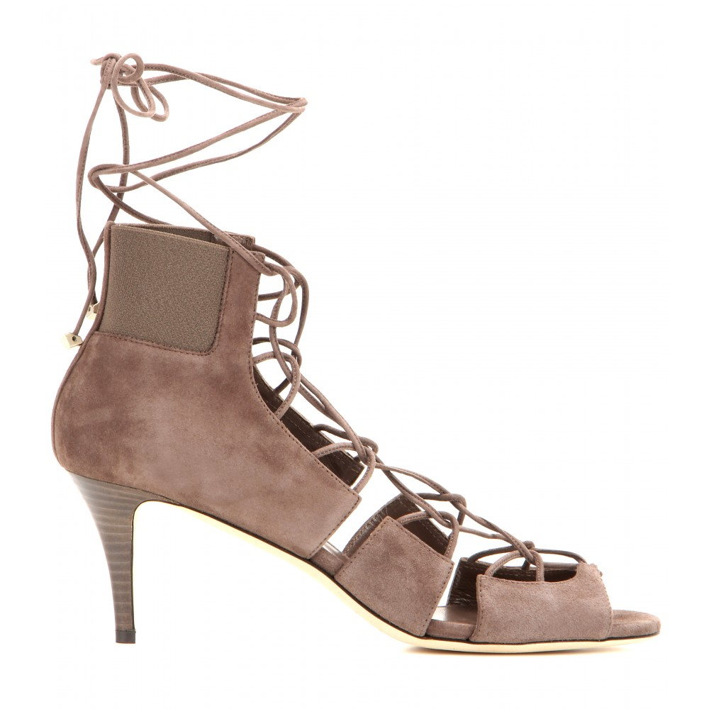 Jimmy choo Myrtle Lace-Up Suede Sandals in Brown | Lyst
