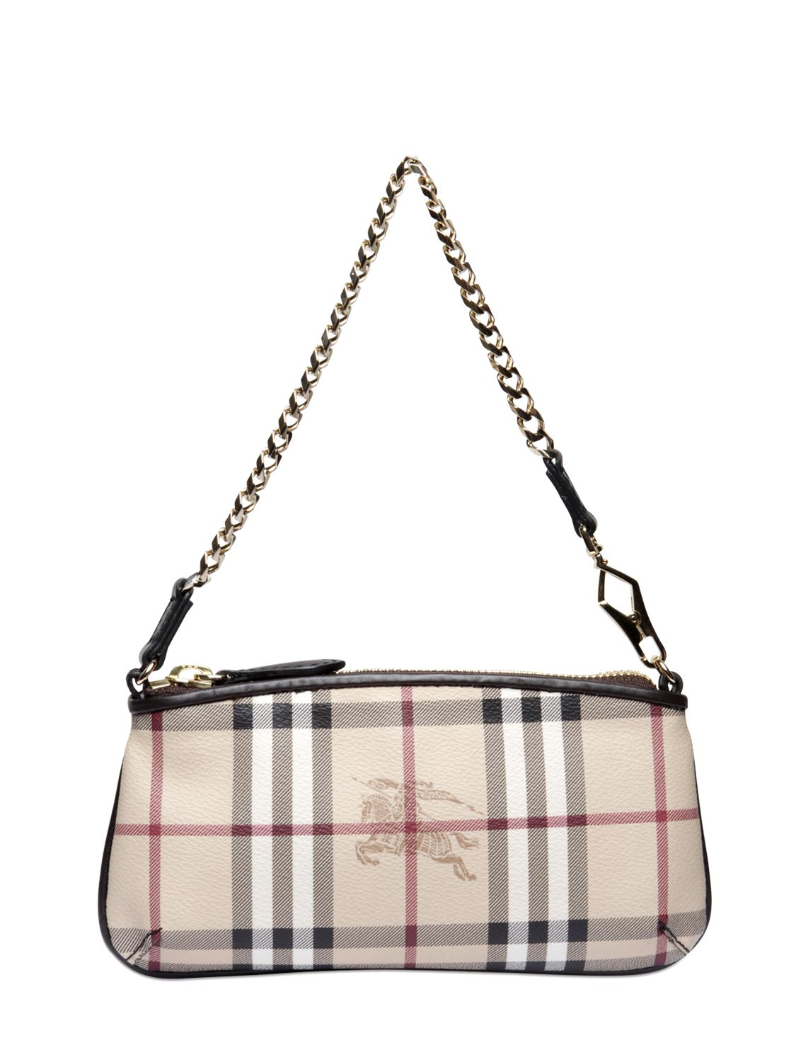 50bfe0b0a208 Lyst - Burberry Clara Haymarket Checked Shoulder Bag in Natural