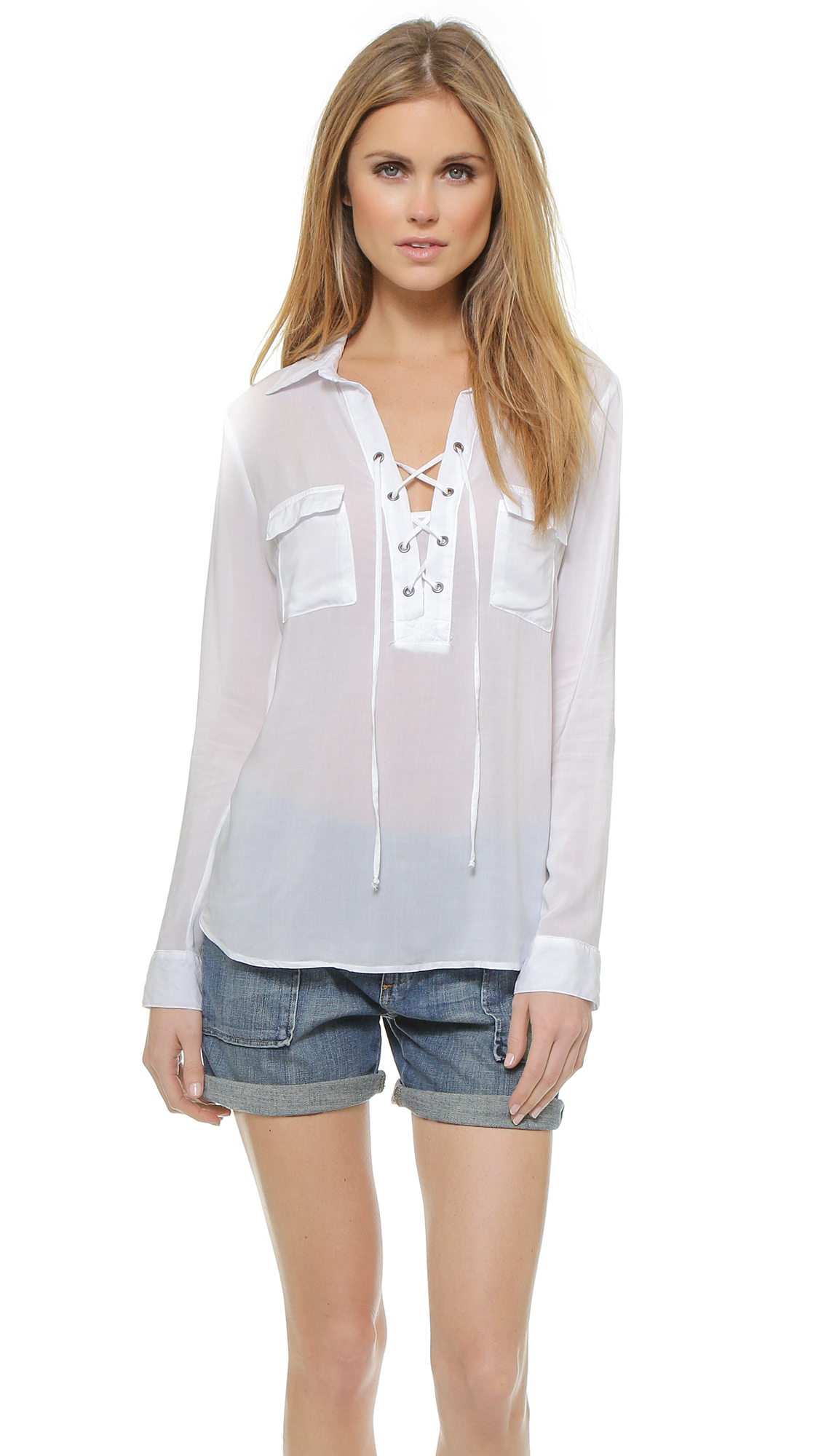 Splendid Lace Up Blouse in White | Lyst