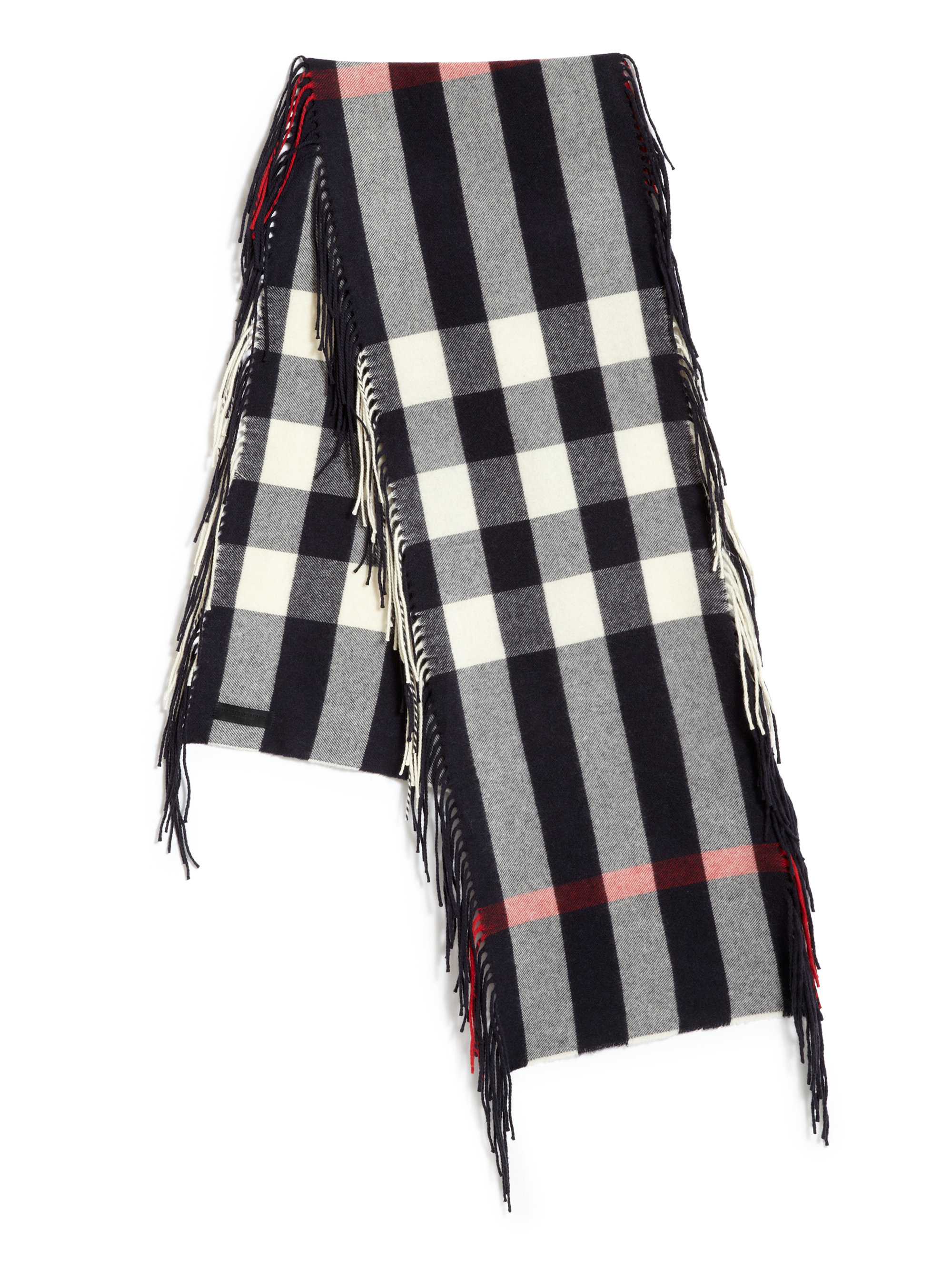 burberry fringed scarf in blue for lyst