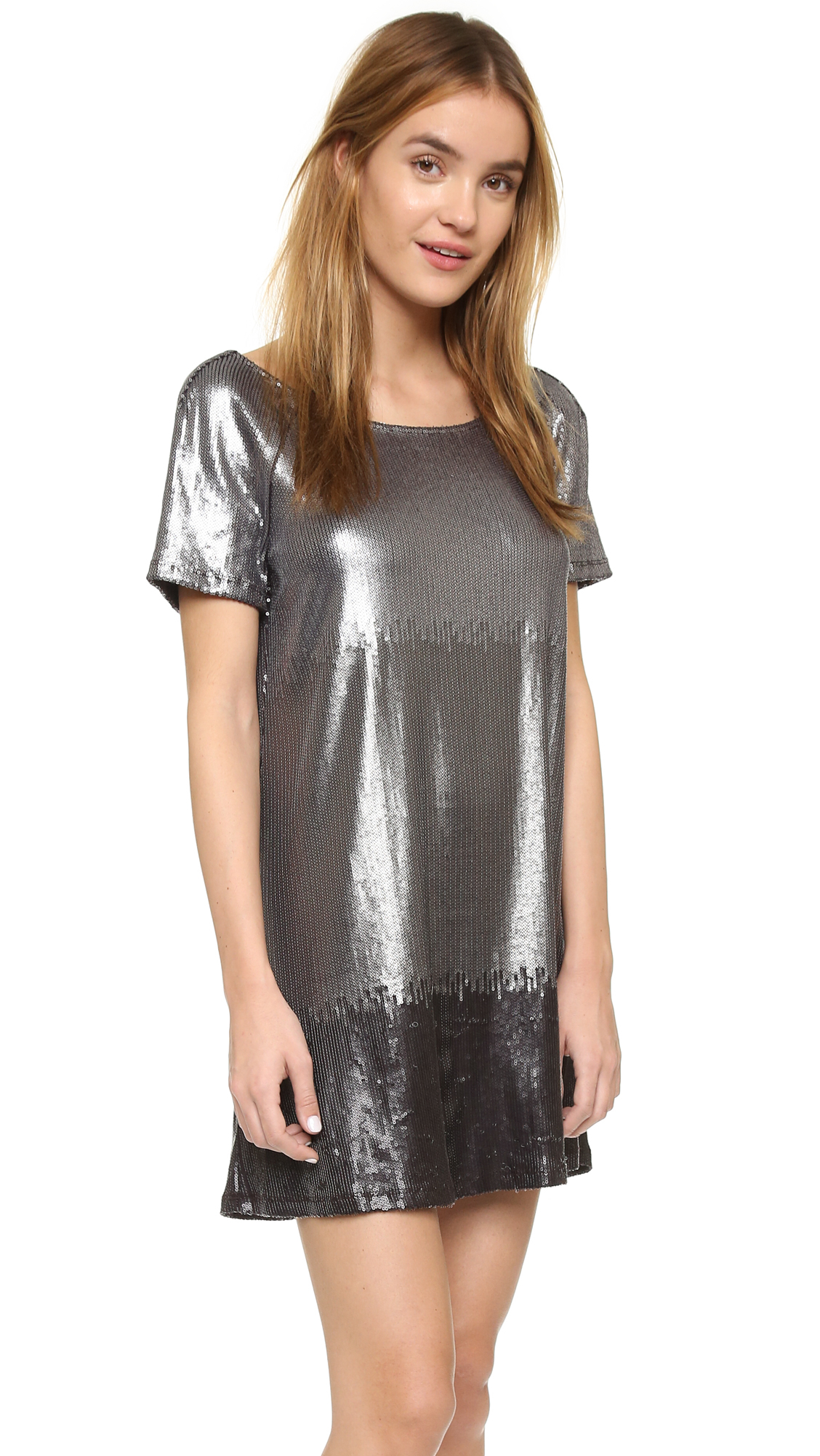 Free people Drenched In Sequins Dress in Gray - Lyst