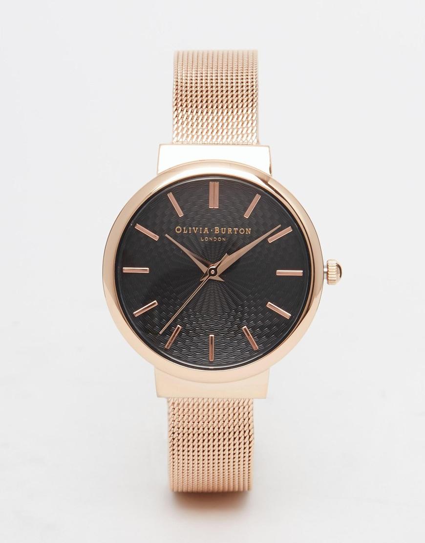 Lyst Olivia Burton Hackney Rose Gold Watch In Black